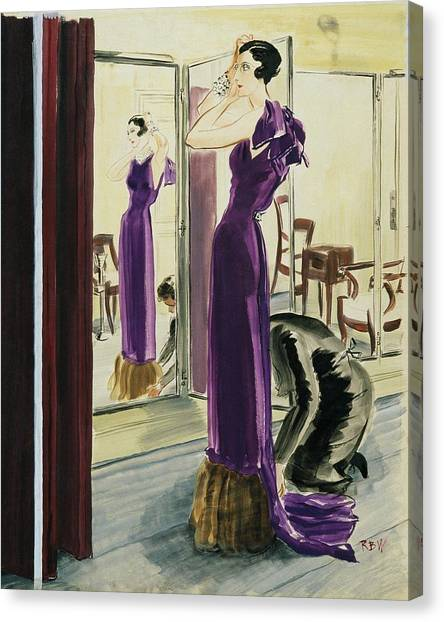 Indoors Canvas Print - A Woman Wearing A Purple Augustabernard Evening by Rene Bouet-Willaumez