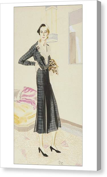 A Woman Wearing A Saks-fifth Avenue Suit Canvas Print by R.S. Grafstrom