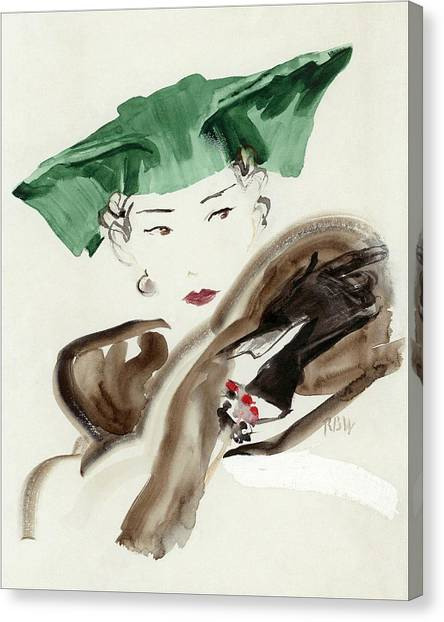 A Woman Wearing An Agnes Hat Canvas Print by Rene Bouet-Willaumez