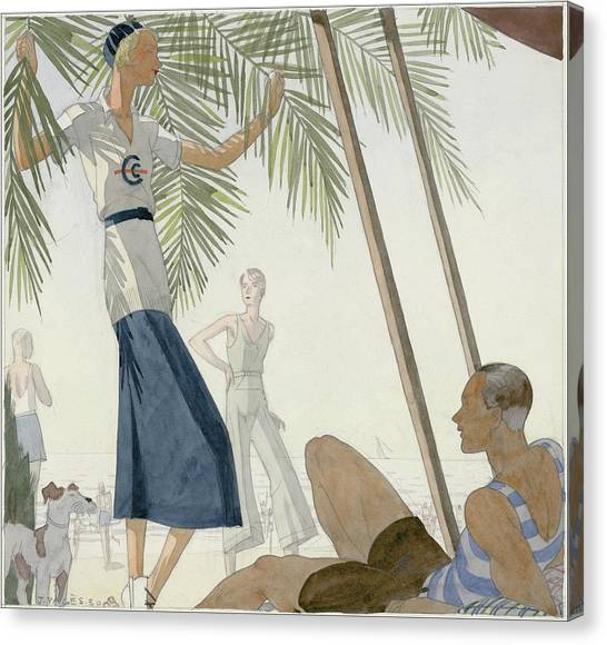 A Woman Wearing Patou Clothing At The Beach Canvas Print by Jean Pages