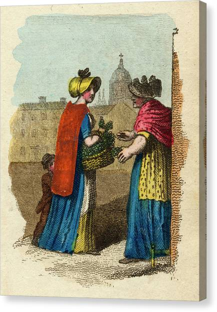 Watercress Canvas Print - A Woman With A Basket Of  Watercress by Mary Evans Picture Library