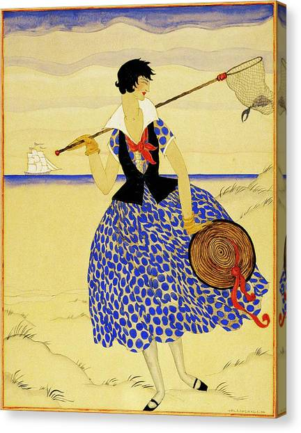 A Woman With A Crab Net Canvas Print by Helen Dryden