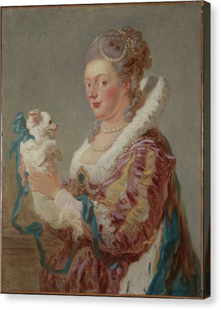 Honor Canvas Print - A Woman With A Dog by Jean Honor� Fragonard