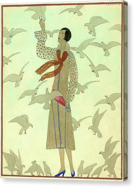 A Woman With Pigeons Canvas Print by Andre E.  Marty