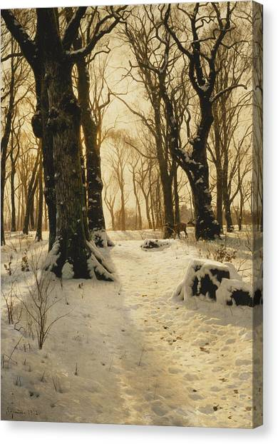 Danish Canvas Print - A Wooded Winter Landscape With Deer by Peder Monsted