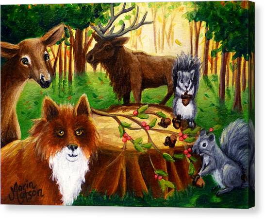A Woodland Thanksgiving Canvas Print
