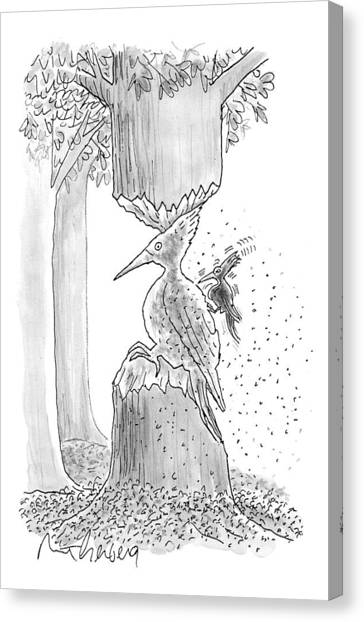 Sculptors Canvas Print - A Woodpecker Is Using His Beak To Carve Is Own by Mort Gerberg