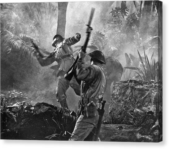 South Asia Canvas Print - A World War II Hand To Hand Combat Battle Scene. by Underwood Archives
