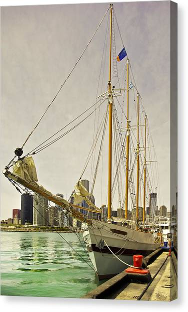 A Yacht Moored At Navy Pier Canvas Print