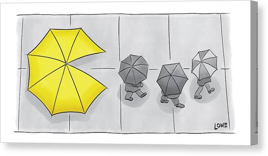 Pacman Canvas Print - A Yellow Umbrella With A Pacman Mouth by Christian Lowe