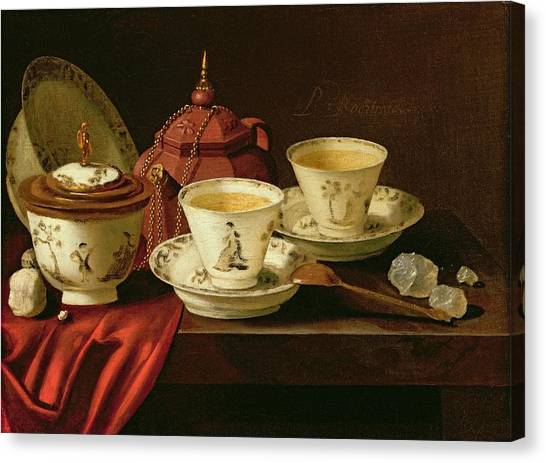 Tea Set Canvas Print - A Yixing Teapot And A Chinese Porcelain Tete-a-tete On A Partly Draped Ledge Oil On Canvas by Pieter Gerritsz. van Roestraten