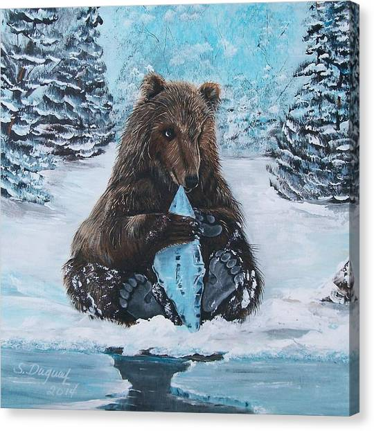 A Young Brown Bear Canvas Print