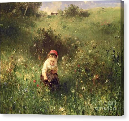 Girl In Landscape Canvas Print - A Young Girl In A Field by Ludwig Knaus