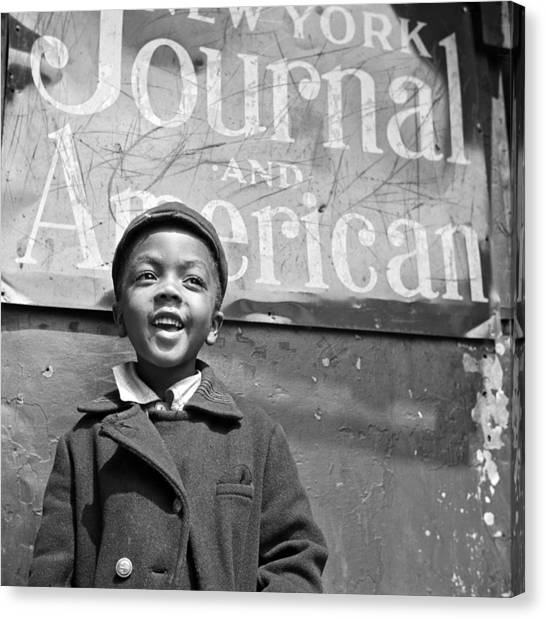 Harlem Canvas Print - A Young Harlem Newsboy by Underwood Archives