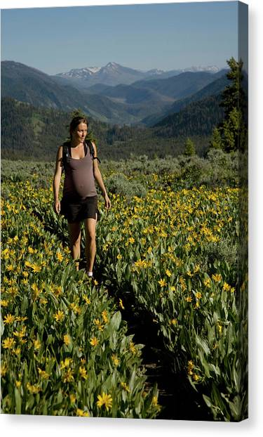 Teton National Forest Canvas Print - A Young Pregnant Woman Takes In The Sun by David Stubbs
