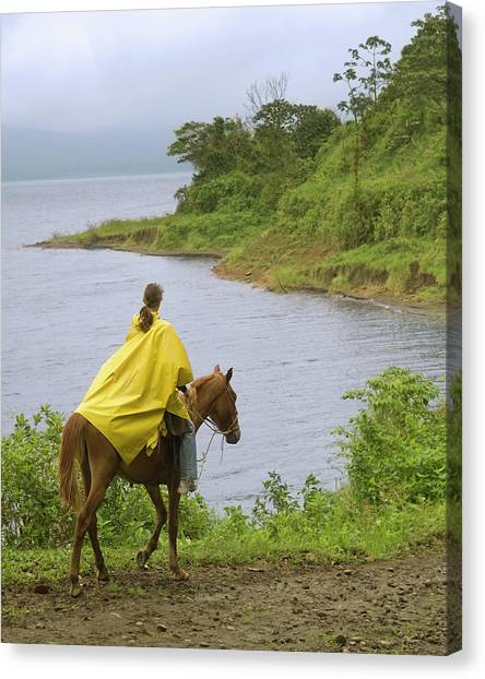 Monteverde Canvas Print - A Young Woman Rides A Horse Next by Lacey Ann Johnson