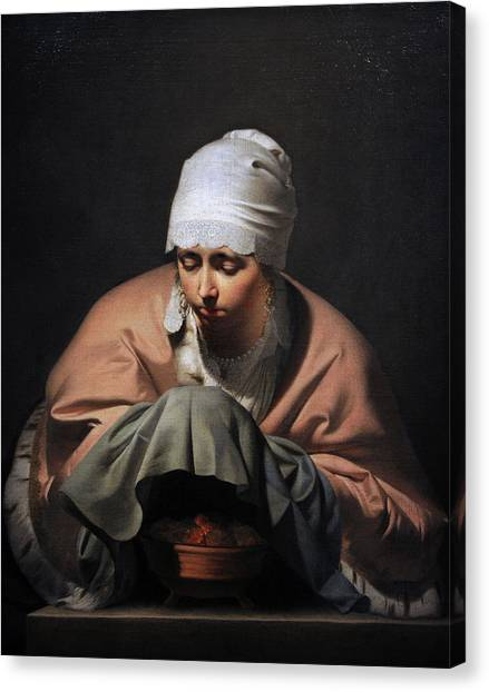 Rijksmuseum Canvas Print - A Young Woman Warming Her Hands Over A Brazier Allegory Of Winter, C. 1644-1648, By Cesar Boetius by Bridgeman Images