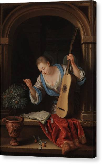 Orange Tree Canvas Print - A Young Woman With A Guitar In A Window by Pieter Leermans