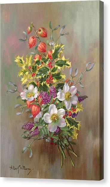 Mistletoe Canvas Print - A Yuletide Posy by Albert Williams
