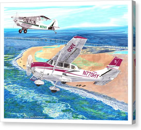 Cessnas Canvas Print -  Cessna 206 And A1a Husky by Jack Pumphrey