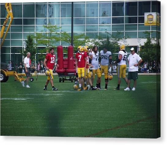 Football Players Canvas Print - Aaron At Training Camp by Shana McIlheran
