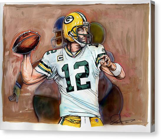 Aaron Rodgers Canvas Print - Aaron Rodgers by Dave Olsen