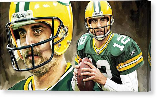 Aaron Rodgers Canvas Print - Aaron Rodgers Green Bay Packers Quarterback Artwork by Sheraz A