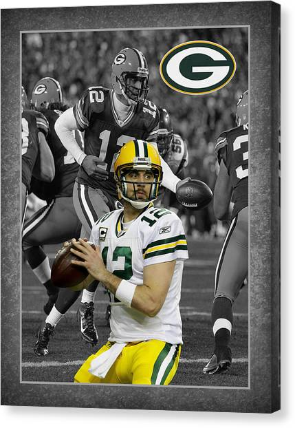 Goal Canvas Print - Aaron Rodgers Packers by Joe Hamilton