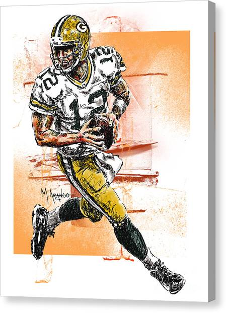 Superbowl Canvas Print - Aaron Rodgers Scrambles by Maria Arango