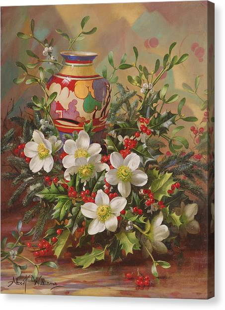 Mistletoe Canvas Print - Winter Flowers by Albert Williams