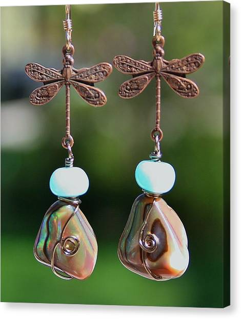Abalone Dragonfly Earrings Canvas Print