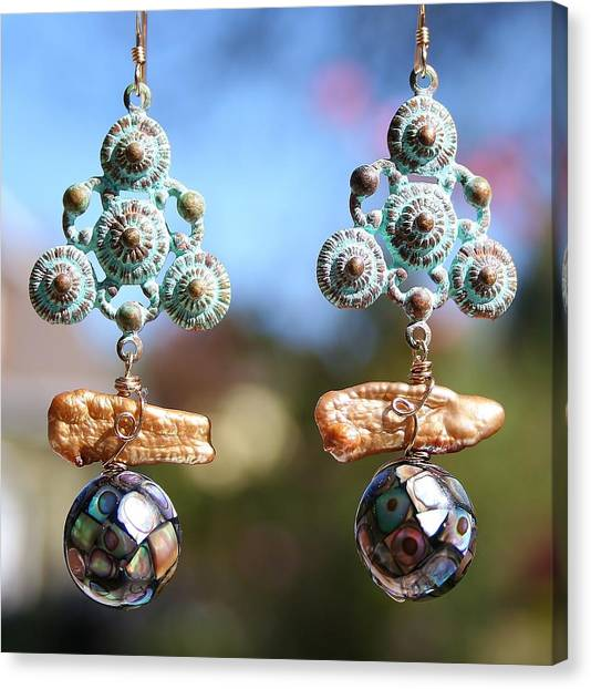 Abalone Mosaic Earrings Canvas Print
