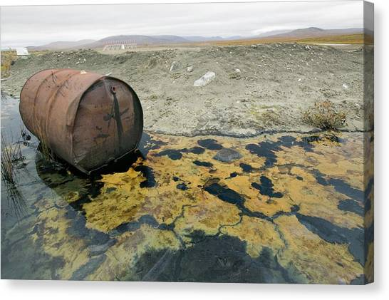 Pollution Canvas Print - Abandoned Barrels Of Leaking Waste Oil by Ashley Cooper