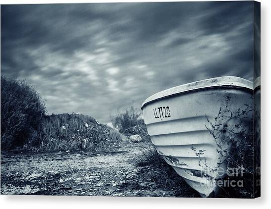 Shingles Canvas Print - Abandoned Boat by Stelios Kleanthous
