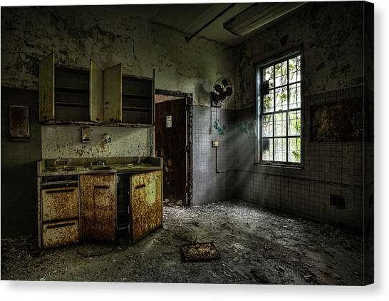 Abandoned Building - Old Asylum - Open Cabinet Doors Canvas Print