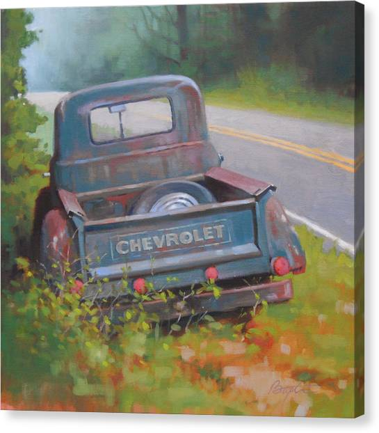 Chevy Truck Canvas Print - Abandoned Chevy by Todd Baxter