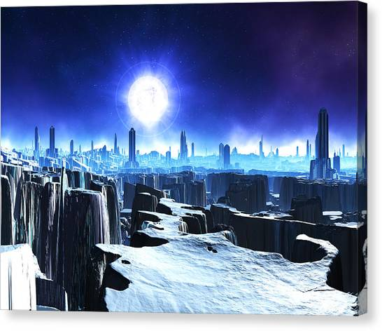 Abandoned City On Snow-covered World Digital Art By