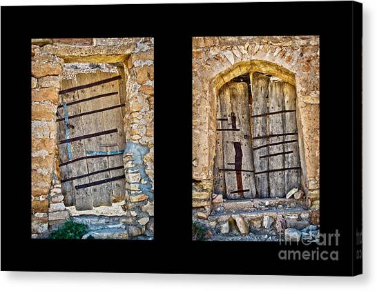 Old Wooden Door Canvas Print - Abandoned Diptych by Delphimages Photo Creations