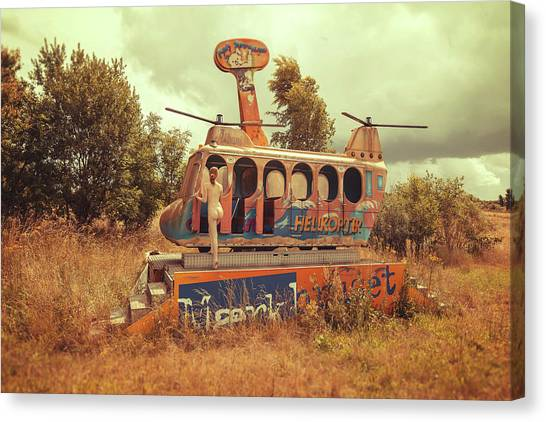 Helicopters Canvas Print - Abandoned Helicopter by Abandon.dk
