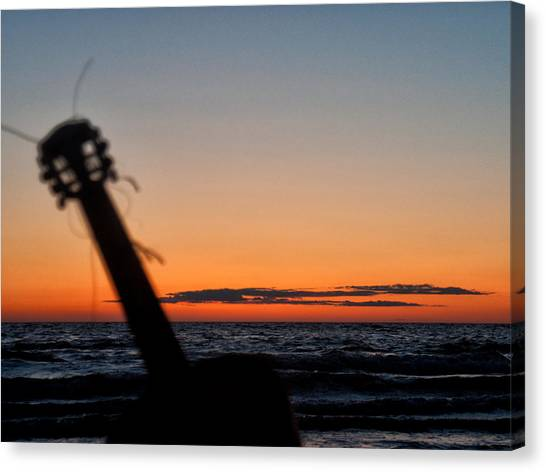 Acoustic Guitar On The Beach Canvas Print