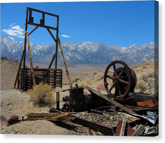 Abandoned Mine With View Of Eastern Sierras Canvas Print