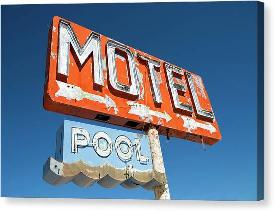 Abandoned Motel Sign At Yucca, Mohave Canvas Print by Feifei Cui-paoluzzo