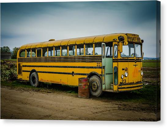 Abandoned School Canvas Print - Abandoned School Bus by Puget  Exposure