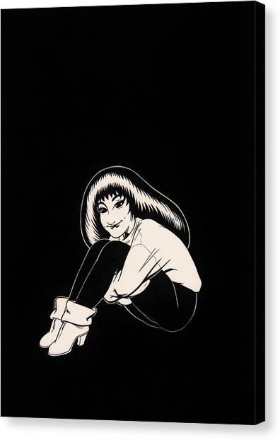 Abbey In Boots Against Black Field Canvas Print