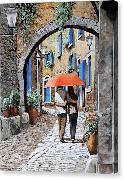 Kiss Canvas Print - Abbracciati Sotto L'arco by Guido Borelli
