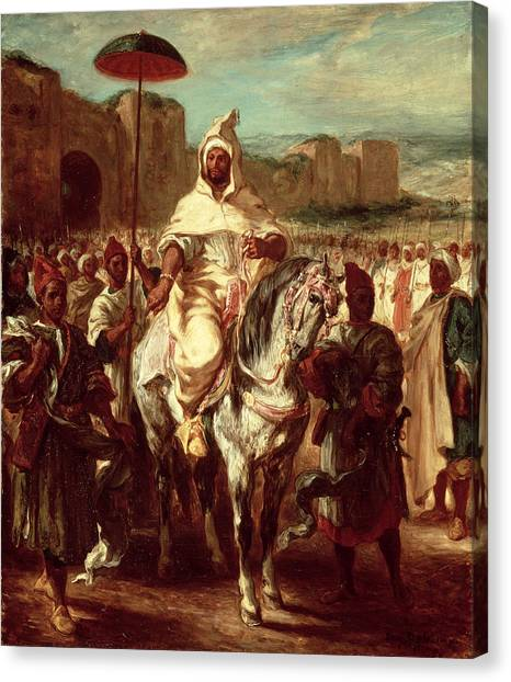 Muslim Canvas Print - Abd Ar-rahman, Sultan Of Morocco, 1845 Oil On Canvas by Ferdinand Victor Eugene Delacroix
