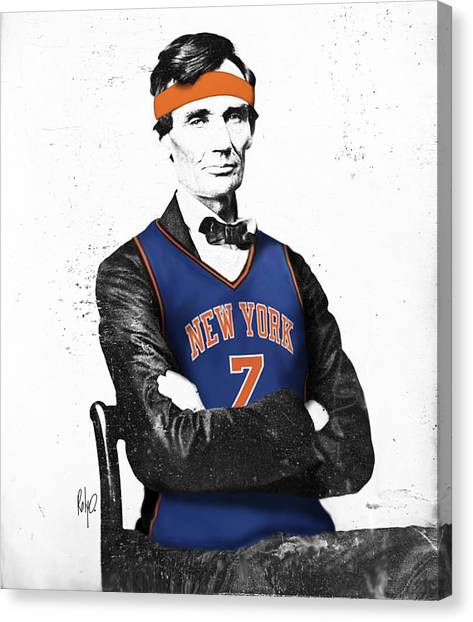 New York Knicks Canvas Print - Abe Lincoln In A Carmelo Anthony New York Knicks Jersey by Roly O