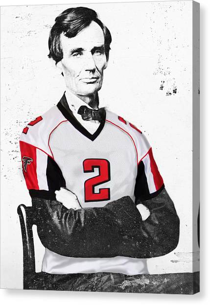 Matt Ryan Canvas Print - Abe Lincoln In A Matt Ryan Atlanta Falcons Jersey by Roly O