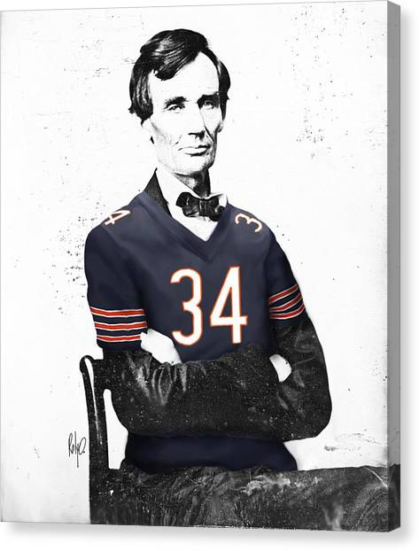 Walter Payton Canvas Print - Abe Lincoln In A Walter Payton Chicago Bears Jersey by Roly O