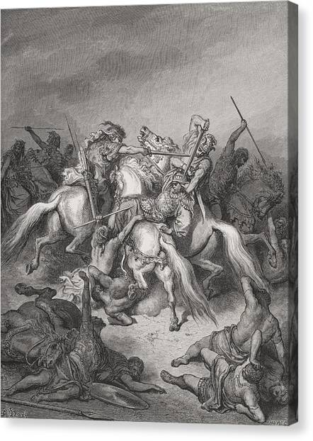 Holy Bible Canvas Print - Abishai Saves The Life Of David by Gustave Dore